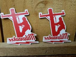 2 Milwaukee Tool Hard Hat Stickers | Motorcycle Welding Helm